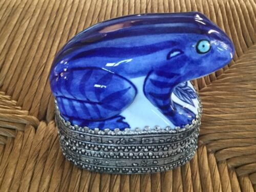 Ceramic Blue and White Frog on Decorative Metal Trinket Box