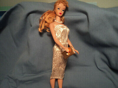 Vintage Barbie Golden Girl Sheath Clone Dress Gold Purse Pearl Necklace Nice !