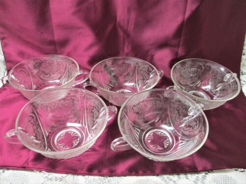 FIVE VINTAGE ROYAL LACE CLEAR CRYSTAL DOUBLE HANDLED CREAM SOUP BOWLS 1930s