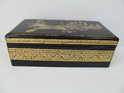 Black Lacquered Wood (Vtg.Thailand Black Lacquered Wood & Gold Jewelry Box:Horses & Chariot-Gold)