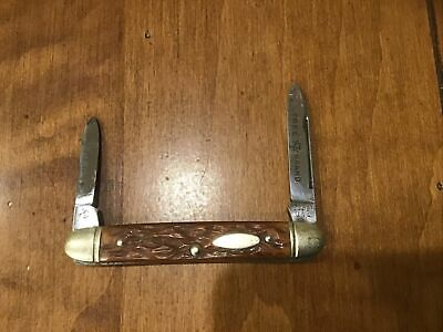 Vintage Boker Tree Brand 1153 2 Blade Folding Pocket Knife Perfect Scales