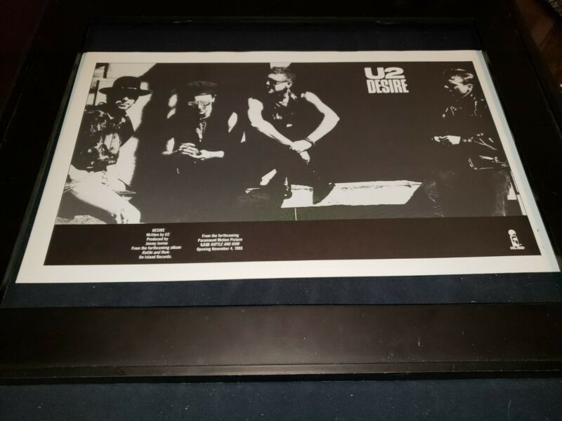 U2 Desire Rare Original Radio Promo Poster Framed! #2