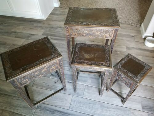 Antique Hand Carved Japanese nesting tables x 4