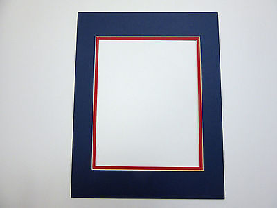 Picture Frame Double Mat 16x20 for 11x14 photo Blue with red  liner