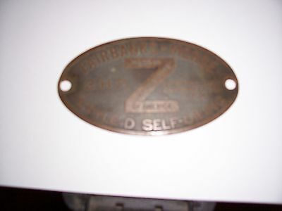 Fairbanks Morse Z D Brass Name Tag 2 Hp Zd Hit Miss Flywheel Gas Engine