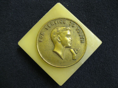 """Vintage YMCA Award Marble Base Medallion """"For Service To Youth"""""""
