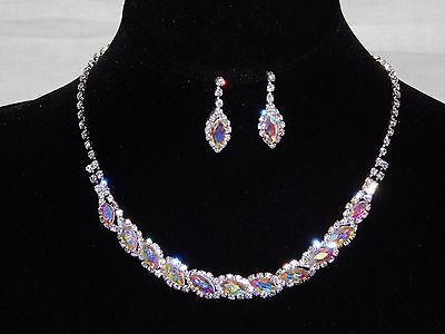 AB Iridescent Marquise,Clear Round Rhinestones Crystal Necklace and Earrings - Round Crystals Necklace Set