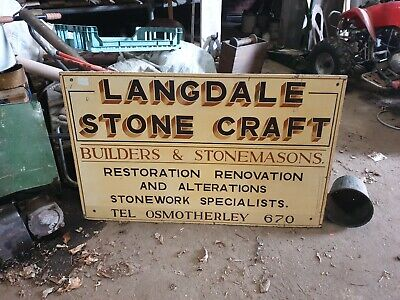 Vintage Wooden Stonemason Sign