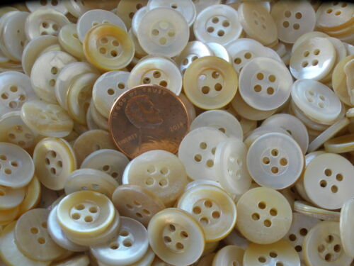 """100 MOP Shirt Buttons 9/16"""" pearl white to yellow beige classic 14MM 22L 4H VTG"""