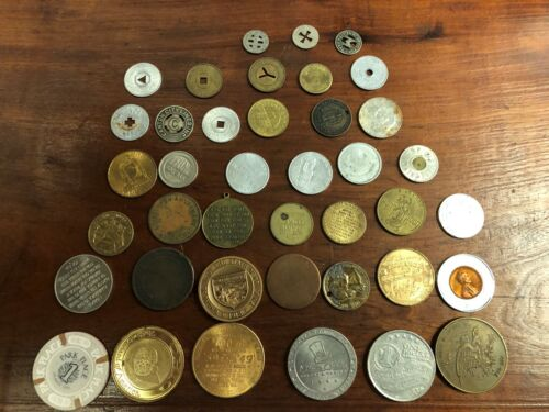 Vintage Lot of (40) Trade Tokens - Different Denominations & Locations