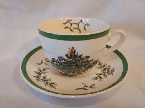 SPODE CHRISTMAS TREE COFFEE TEA CUP & SAUCER ENGLAND PORCELAIN