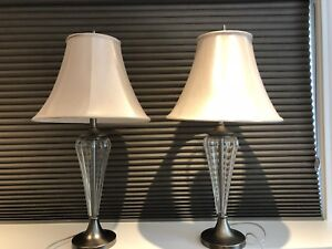 Set of lamps - glass & brushed nickel finish