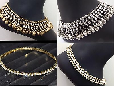 Payal Anklet New Bollywood Indian Costume Jewellery Gold & Silver 1 Piece