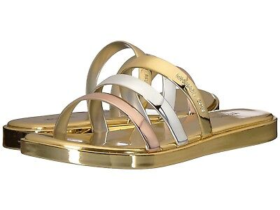 Michael Kors KEIKO Metallic SLIDE SANDALS Shoes GOLD/SILVER Size 8 -New In Box-