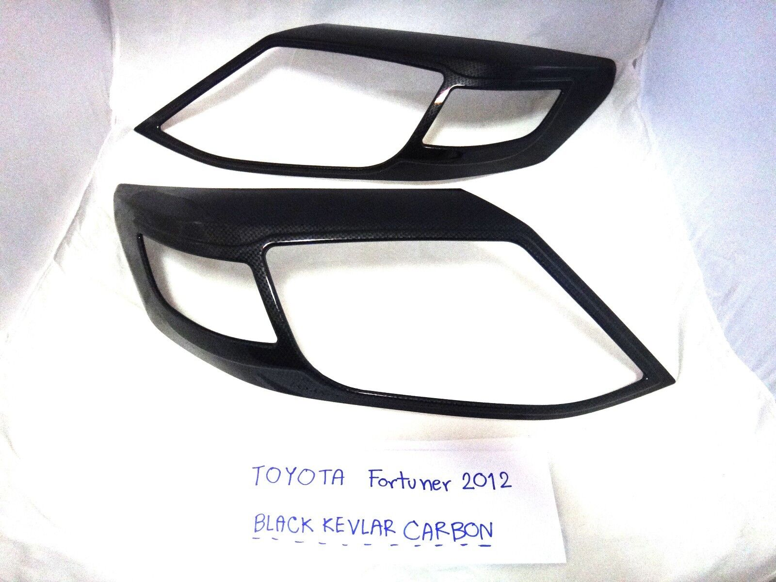 BLACK KEVLAR REAR TAILLIGHT LAMP COVER TRIM FOR TOYOTA FORTUNER SUV 2012-2014