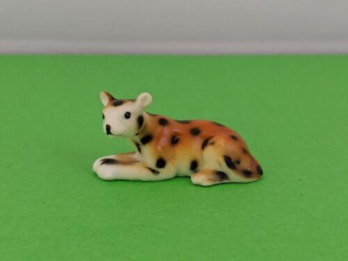 Vintage Miniature Adorable Leopard Bone China Figurine Collectible Cute Leopard