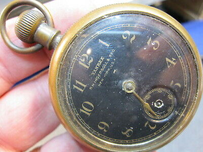 1899 52mm Ingersoll black dial back wind and set dollar watch pocket watch