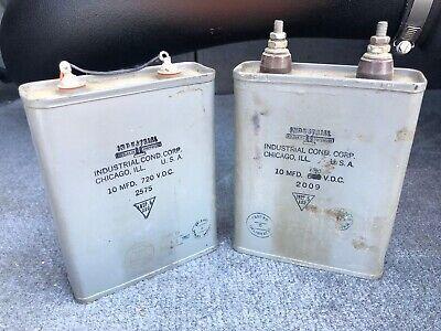 Vintage Industrial Condensor Capacitor 10 Mfd 720 Vdc Oil Pair
