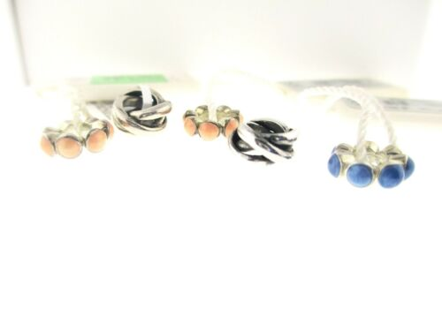Persona Lot Of 5 Sterling Silver & Pink & Blue Beaded With Tags Charm Beads