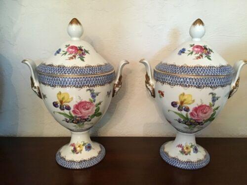 Vintage Pair of Lidded Porcelain Urns Gold Gilt with Flower and Figural Handles