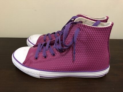 32fc0c57f19 Purple Converse high tops as new size 5 37.5