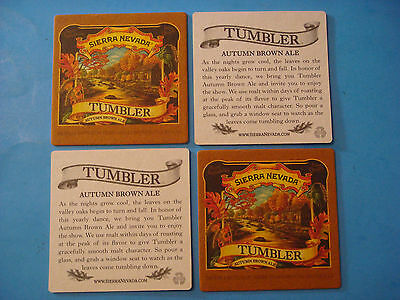 4 Beer Bar Coasters ~ SIERRA NEVADA Tumbler Autumn Brown Ale ~ Chico, CALIFORNIA