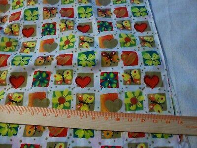 Butterflies,hearts & shamrocks small block print -cotton quilting  1 yd -