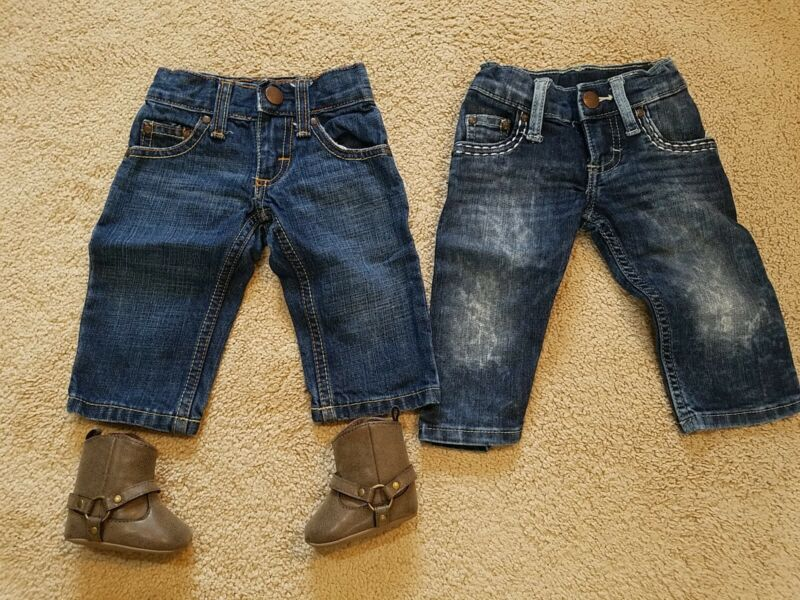 2 Wrangler Blue Jeans Stretch Denim Infant Baby 0-3M 3-6M Cowboy With NB Boots