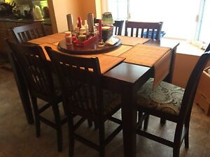 Square Bar style wood dining table set