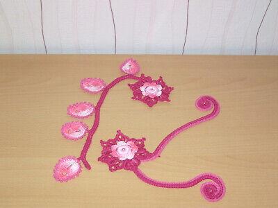 Blumen mit Schnörkel als Applikation Anhänger Aufnäher Spitze Irish lace Crochet Irish Blumen