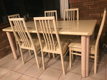 6 seater table, chairs and matching side unit.