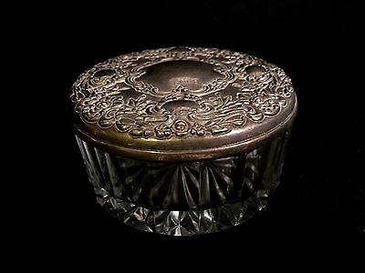 Art Nouveau Silverplate Repousse Pressed Glass Vanity Dresser Powder Jar