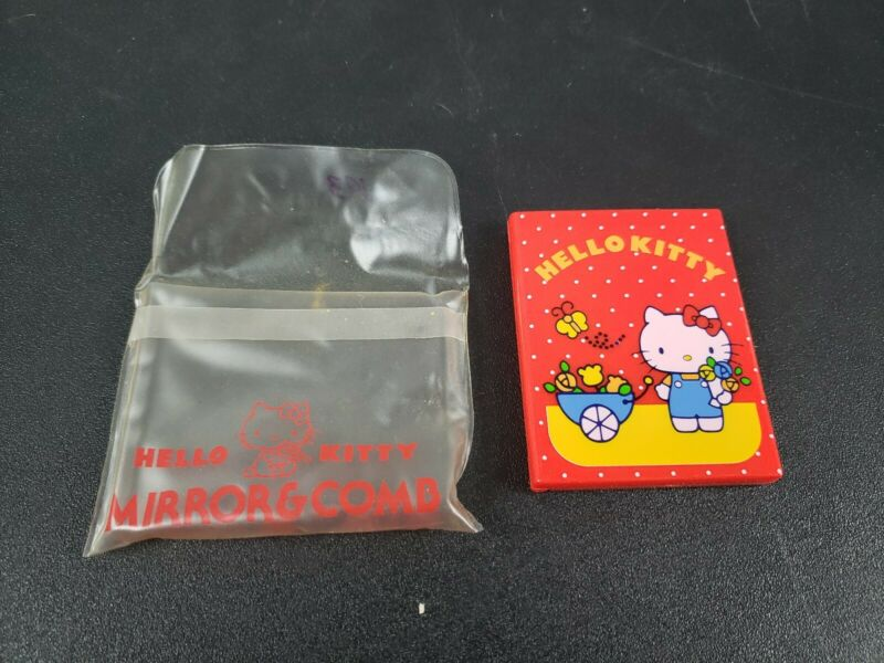 Hello Kitty Mirror and Comb Compact Set With Case Vintage 1976 Sanrio Hong Kong