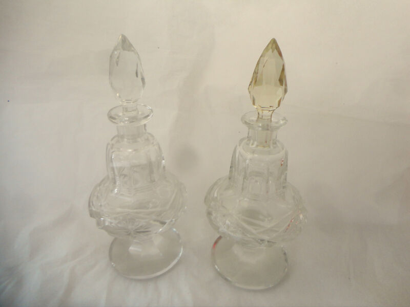 "PAIR OF VICTORIAN CUT GLASS COLOGNE OR CRUET BOTTLES, 7"" TO TOP OF STOPPER"