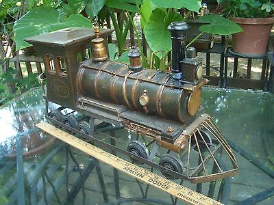"""VINTAGE 22"""" LONG, 11"""" HIGH, 6"""" WIDE EARLY STEAM ENGINE #1875 FLOOR TOY, READ!"""