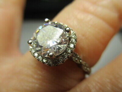 STERLING SILVER 9MM CUBIC ZIRCONIA SQUARE FACE ACCENTS CABLE BAND RING SIZE 9