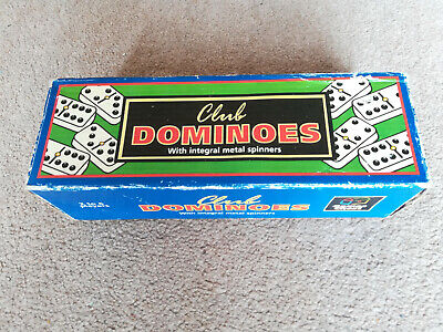 DOUBLE SIX DOMINOES WITH SPINNERS 28 IN HARD PLASTIC BOX