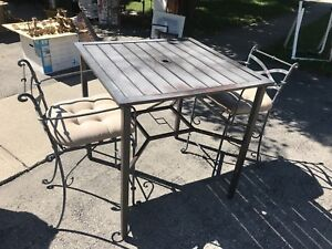 Outdoor Patio table and two Roth iron chairs