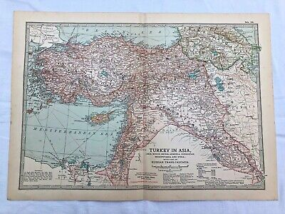 1903 large colour fold out map  - turkey in asia with russian trans - caucasia