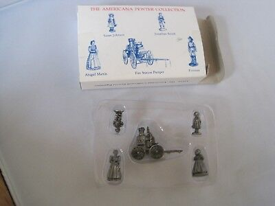 American Pewter Collection Miniatures Dillards 5 Figures w Box Pump