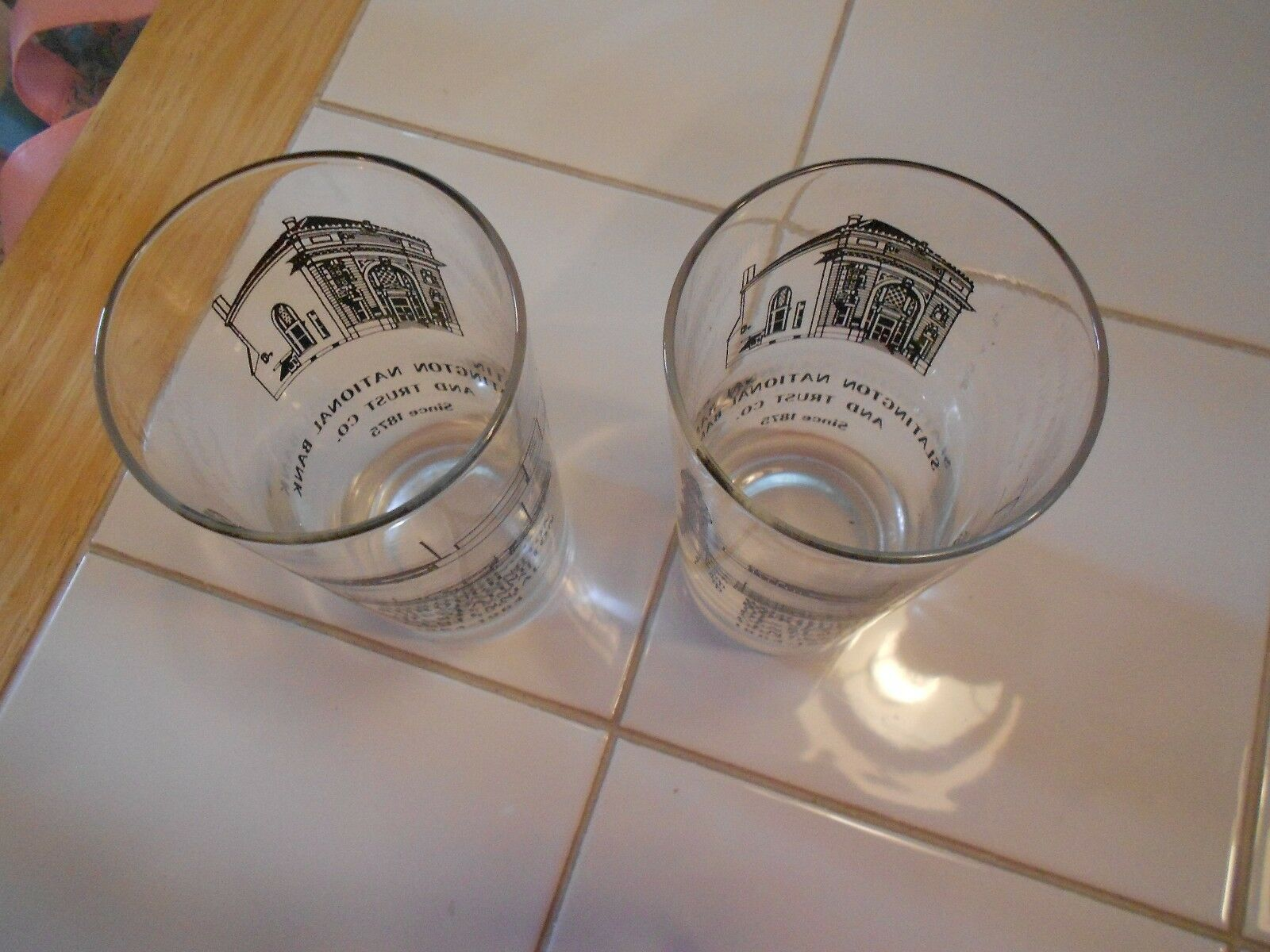 "VINTAGE (2) SLATINGTON NATIONAL BANK/TRUST GLASSES- 1864-1964  VG+ 4 1/2"" TALL"