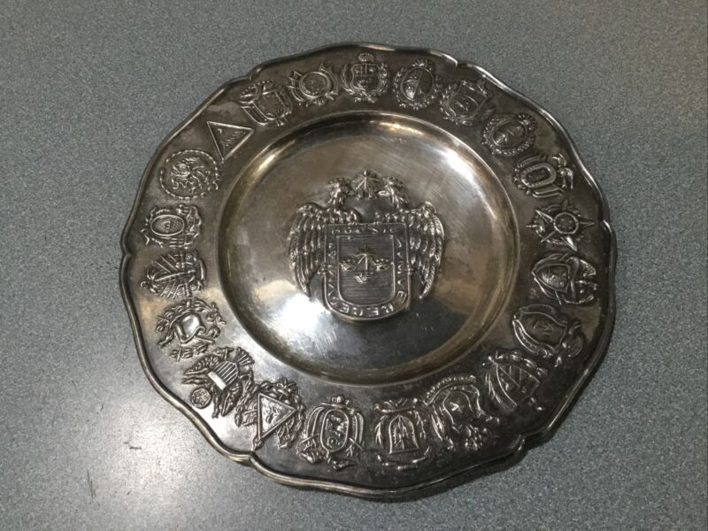 """Sterling Silver dish AL  AMERICAN NATIONS & CENTER LIMA Coat of Arms 6.5"""" 100gr"""