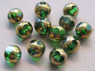 16 Green Gold 10mm Crystal Beads (G161i92)