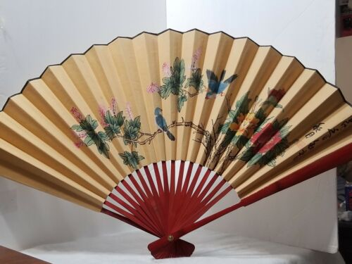 """VINTAGE ASIAN BAMBOO CANVAS PAPER FAN HAND PAINTED WALL DECORATION 20"""" X 34"""""""