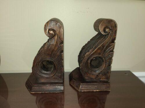 """Vintage Large 11 3/4"""" X 7 1/2"""" Antique Oak Wood Corbels Architectural Victorian"""