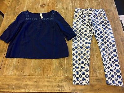 Cherokee Two Piece Outfit Set Shirt & Stretchy Pants Blue & White M/M - M&m Outfit