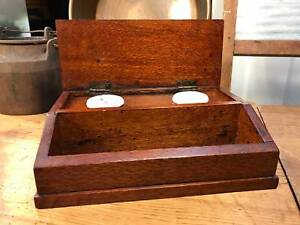 Lovely Old Vintage Australian Silky Oak Inkwell Pen Desk Set