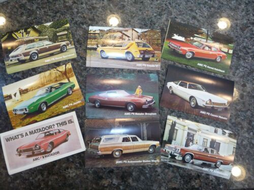 AMC- dealer postcard set 1974- N.O.S- Gremlin, Javelin, Matador