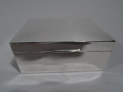 Elizabeth II Box - Modern Desk - English Sterling Silver - 1958