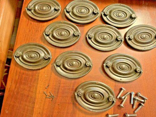 SET OF 10 ANTIQUE BRASS DUNCAN STYLE OVAL DRESSER / DESK DRAWER PULLS